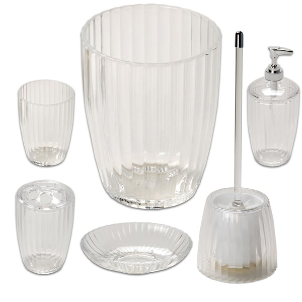 Ribbed Acrylic Bath Accessory Set or Separates 22082245