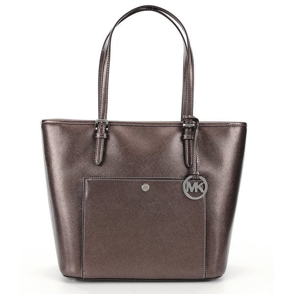Michael Kors Beige Leather Jet Set Large Snap-Pocket Tote