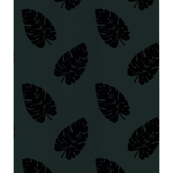Brewster Paume Black Banana Leaf Wallpaper