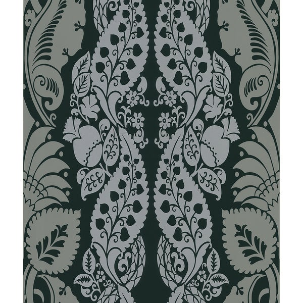 Brewster Dynasty Black Panel Damask Stripe Wallpaper