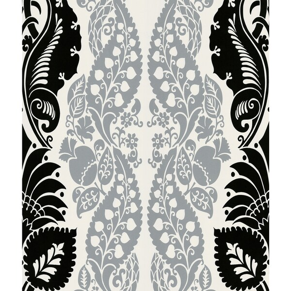 Brewster Dynasty Silver Panel Damask Stripe Wallpaper