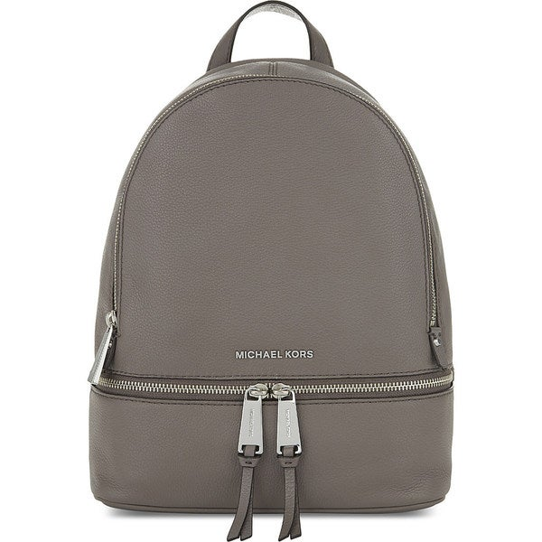 Michael Kors Women's Rhea Cinder Grey Leather Small Zip Backpack