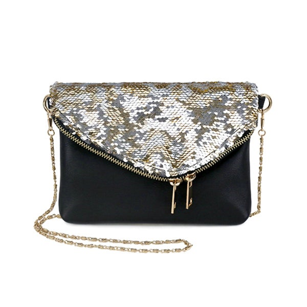 Olivia Miller Farrah Black Faux Leather Sequin Flap Envelope Shoulder Bag