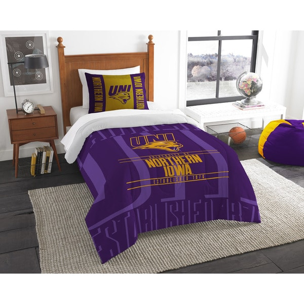 The Northwest Company Northern Iowa Modern Take Yellow and Purple Polyester Twin 2-piece Comforter Set