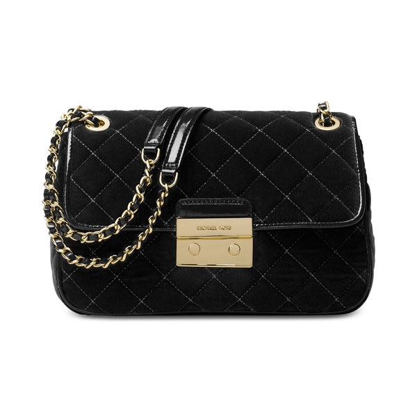 Michael Kors Sloan Black Fabric Large Chain Shoulder Bag