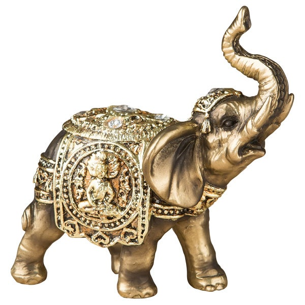 Gold-tone Elephant Polyresin Mini Antique Figurine