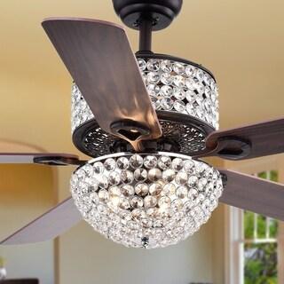 Laure Crystal 6-light Crystal 5-blade 52-inch Ceiling Fan (Optional Remote & 2 Color Option Blades)