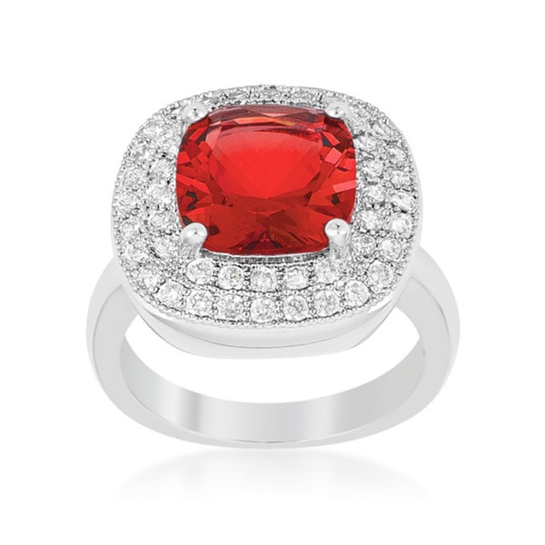 Rhodium Cubic Zirconia Red Bridal Cocktail Ring