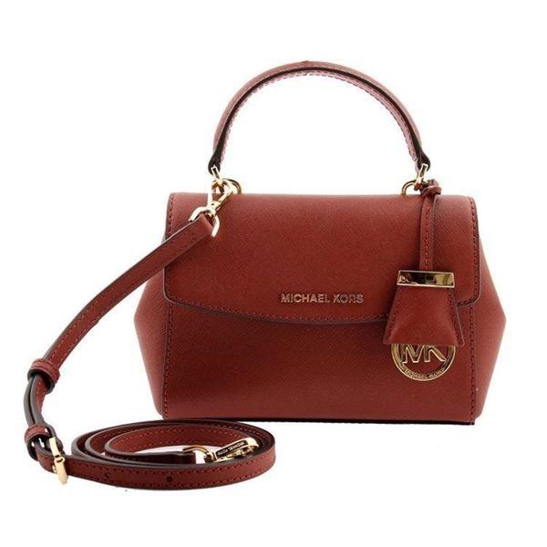 0a3464937799 Michael Kors Ava Brick Red Saffiano Leather Extra Small Crossbody Handbag