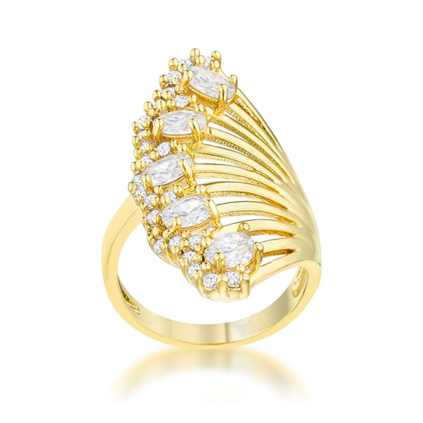 Natalie 14k Yellow Gold Overlay 2.15ct CZ Contemporary Cocktail Ring