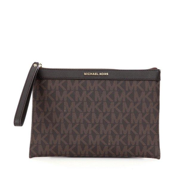 MICHAEL Michael Kors Signature Brown PVC Tech Zip Clutch Bag