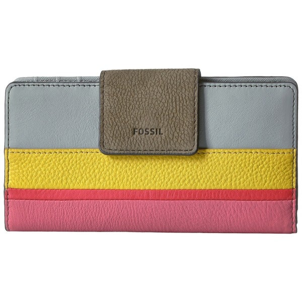 Fossil Emma Printed Stripe Leather RFID-protective Tab Clutch Wallet