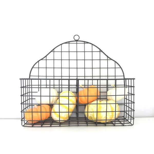Black Metal Multi-functional Two Compartment Wire Storage Basket