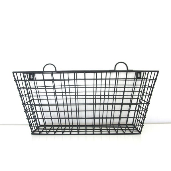 Black Metal Long Multi-functional Wall Hanging Wire Basket