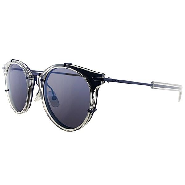 Dior Dior 0196/S IMZ Crystal Blue Plastic Round Blue Mirror Lens Sunglasses
