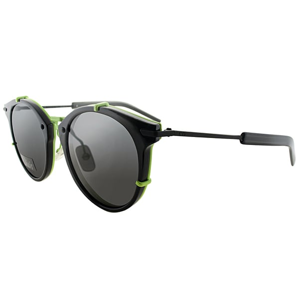 Dior Dior 0196/S TC8 Black Fluorescent Yellow Plastic Round Grey Lens Sunglasses