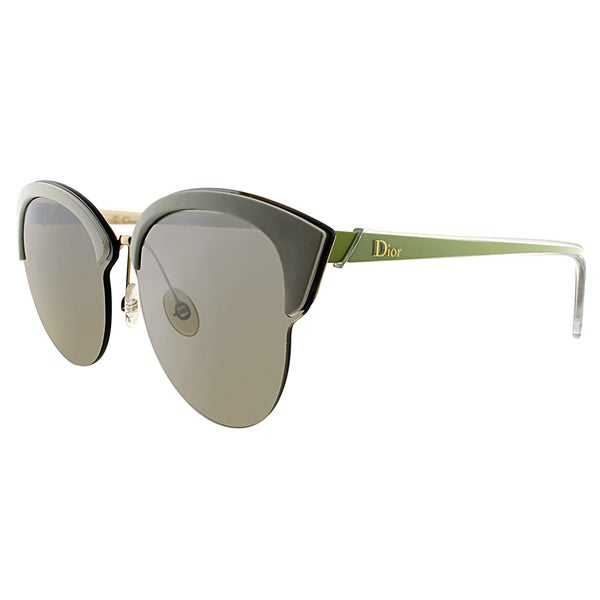 Dior Dior Run BJL NQ Gold White Yellow Plastic Cat-Eye Brown Mirrored Gradient Lens Sunglasses