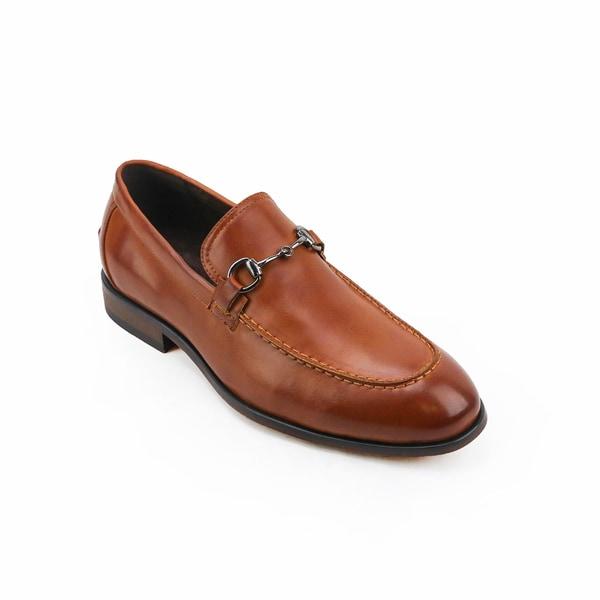 Xray Men's Saddle Tan/Black Polyurethane Leather Slip-on Dress Shoes