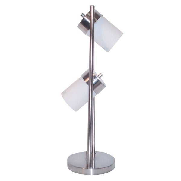 Q-Max 25-inch White Metal 2-light Adjustable Table Lamp