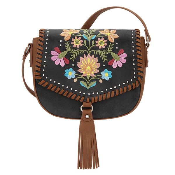 Bandana Maya Charcoal Embroidered Crossbody Bag 22100999