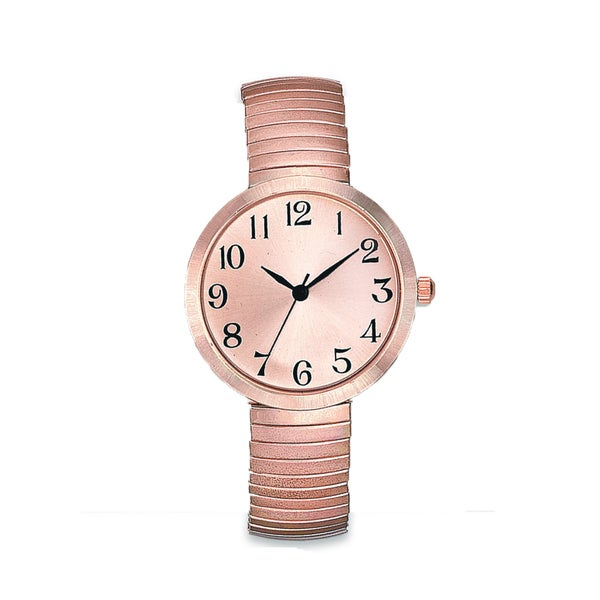 Womens Rose Gold Easy Read Stretch Band Watch