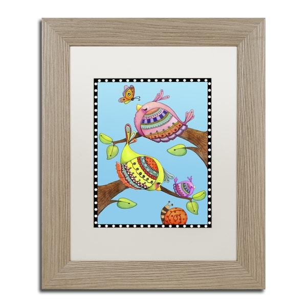 Jennifer Nilsson 'Birds Trio Branch' Matted Framed Art 22101618