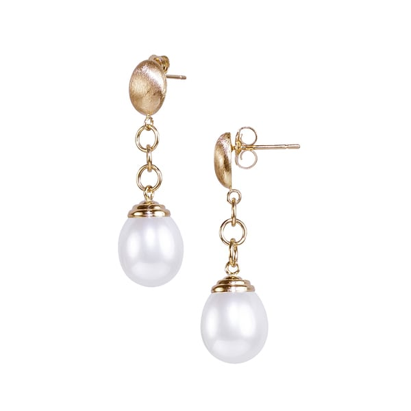 14K Gold White Freshwater Pearl Drop Earrings