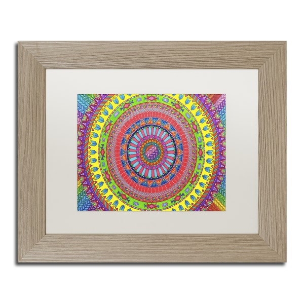 Hello Angel 'Aztec Rainbow' Matted Framed Art