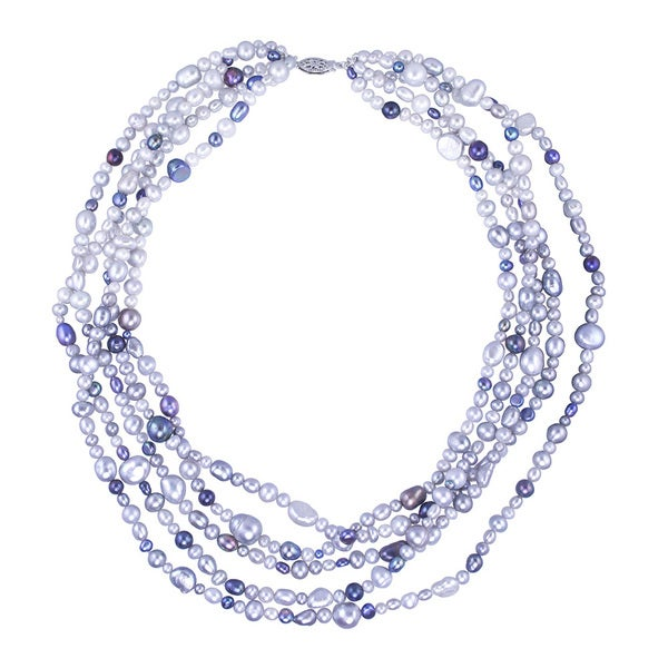 Sterling Silver Freshwater Pearl 5-row Necklace