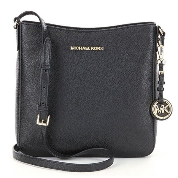 Michael Kors Jet Set Travel Large Black Leather Crossbody Handbag