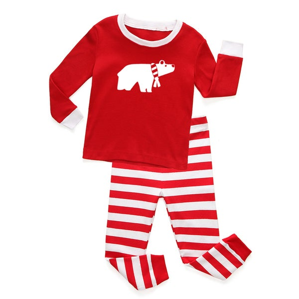 Holiday Red and White Striped Baby and Toddler Graphic Pajama Set-Polar Bear by Rocket Bug