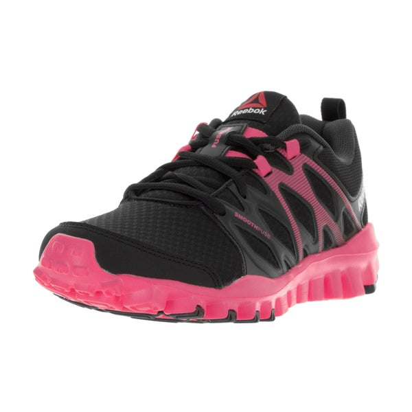 Reebok Women's Realflex Train 4.0 Black, Coal, Solar Pink Plastic Training Shoe