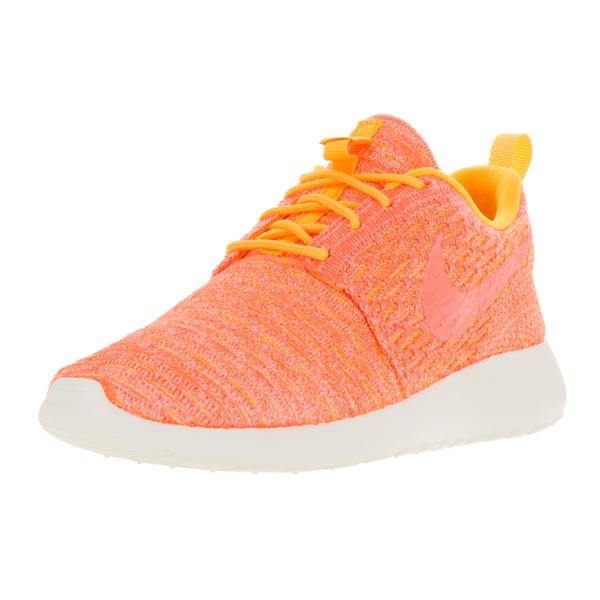 Nike Women's Roshe One Flyknit Laser Orange, Bright Mango, and Sail Fabric Running Shoes