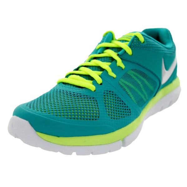 Nike Women's Flex 2014 Rn Trb Green/Mtlc Pltnm/Vlt/White Mesh Running Shoe