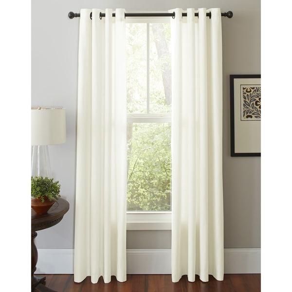 Pointehaven Cotton Solid-color Grommet Window Curtain Panel Pair 22119208
