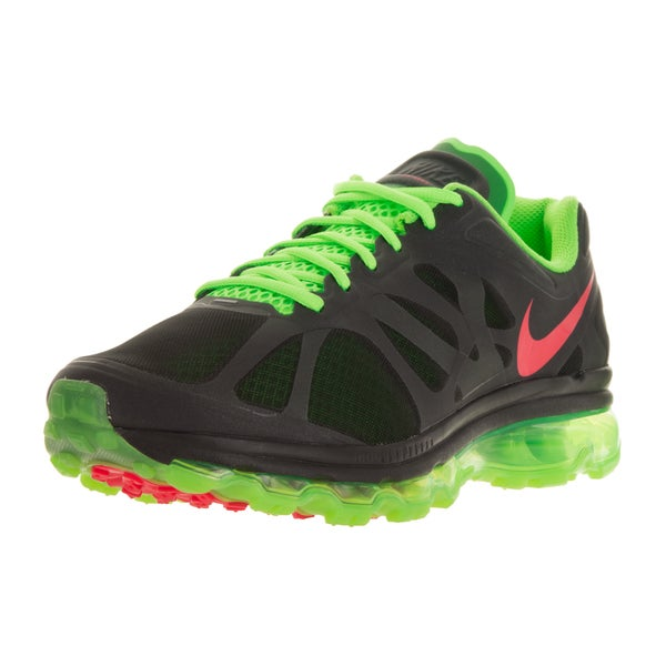 Nike Women's Air Max+ 2012 Black, Green, and Red Plastic Running Shoes