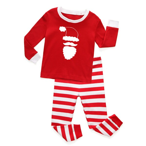 Holiday Red and White Striped Baby and Toddler Graphic Pajama Set-Santa Clause by Rocket Bug