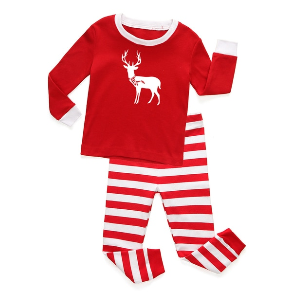 Holiday Red and White Striped Baby and Toddler Graphic Pajama Set-Deer with Scarf by Rocket Bug