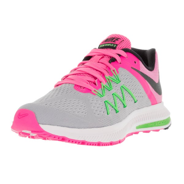 Nike Women's Zoom Winflo 3 Wolf Grey/Blk/Pink Blast/Electric Green Running Shoe