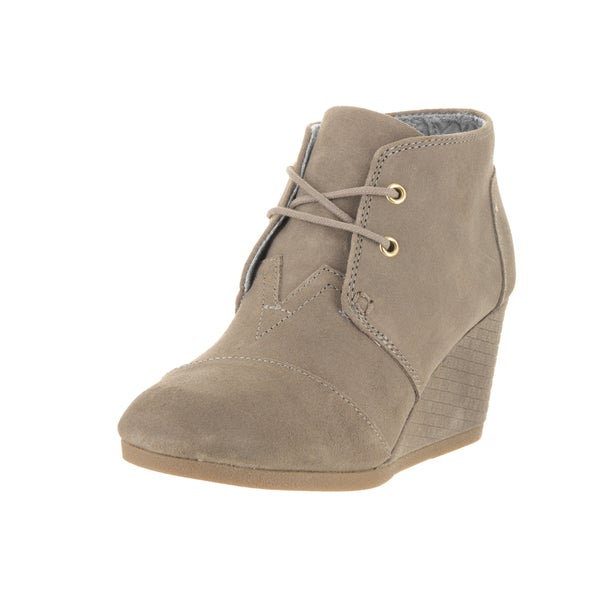 Toms Women's Brown Suede Desert Wedge Casual Shoe