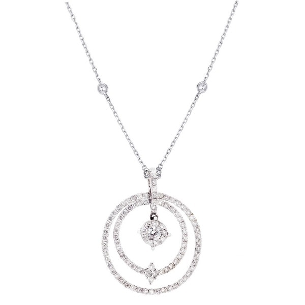 14K Two Tone Snowflake Diamond Pendant Necklace