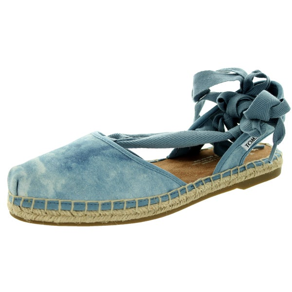 Toms Women's Bella Skyway Blue Suede Espadrille Sandals