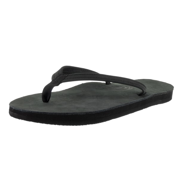 Rainbow Sandals Women's Black Leather Single-layer Narrow-strap Sandals