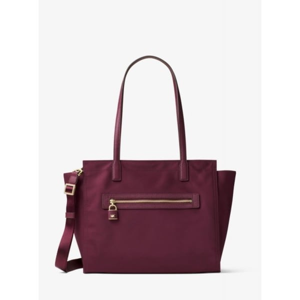 Michael Kors Janie East West Plum Nylon Large Tote Bag
