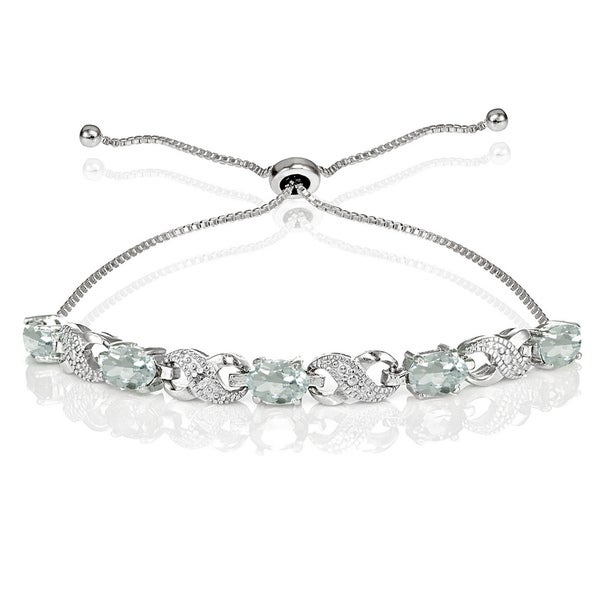 Glitzy Rocks Sterling Silver Aquamarine and Diamond Accent Infinity Adjustable Bracelet 22121298
