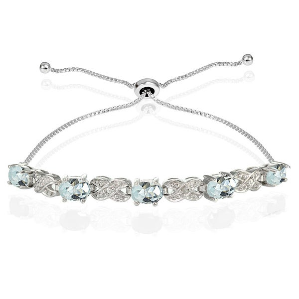 Glitzy Rocks Sterling Silver Aquamarine and Diamond Accent Infinity Adjustable Bracelet 22121311