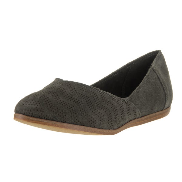 Toms Women's Jutti Flat Tarmac Olive Suede Chevron-embossed Casual Shoes