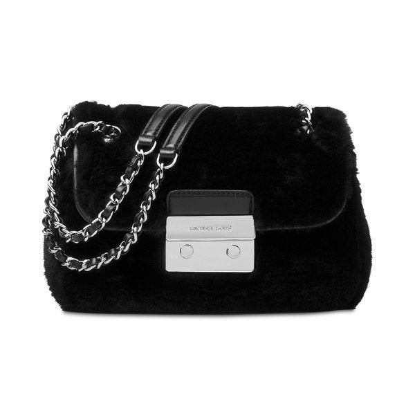 Michael Kors Sloan Black Wool Small Shoulder Bag with Chain Strap