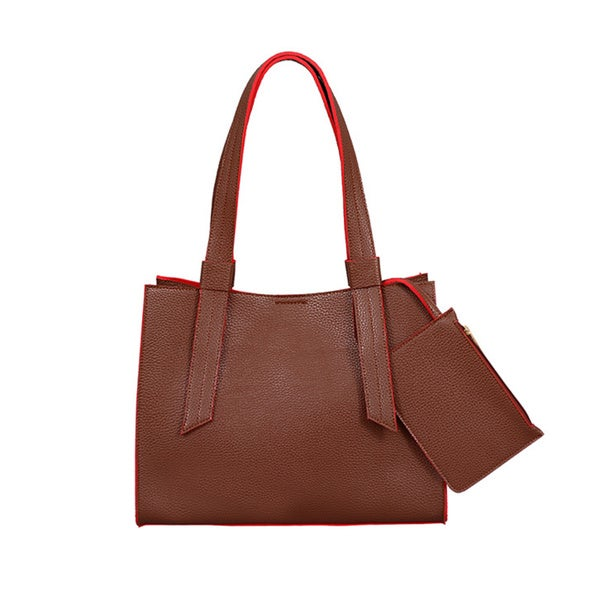 Mellow World Anna Brown Faux Leather Structured Tote Bag