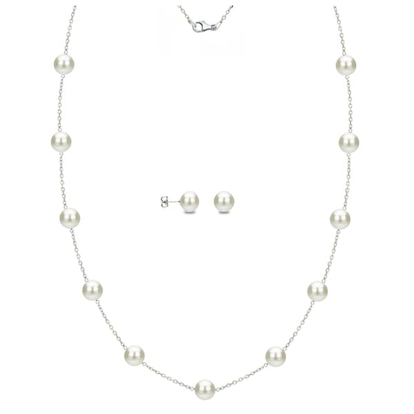 DaVonna Sterling Silver 8-9mm White Freshwater Pearl Tin-cup Station Necklace and Stud Earrings Set